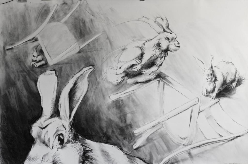 Rabbits-2 50x42 Charcoal 2016